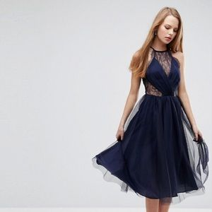 🏷 ASOS Lace Paneled Tulle Mesh Midi Dress